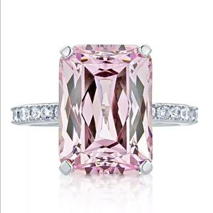 Size 10 Pink Sapphire & Silver Ring